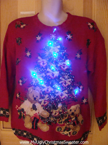 80s Huge Tree with Bears Light Up Christmas Sweater
