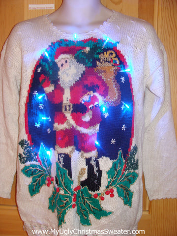 Retro 80s Santa Light Up Christmas Sweater