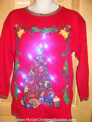 Retro 80s Tree Light Up Christmas Sweater