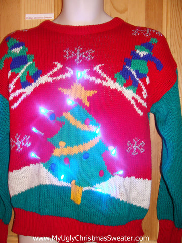 80s Skiers Light Up Christmas Ski Sweater