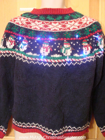 Nordic Snowmen Light Up Christmas Sweater