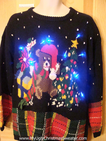 Light Up Christmas Sweater with Plaid Trim, Bear, Gifts
