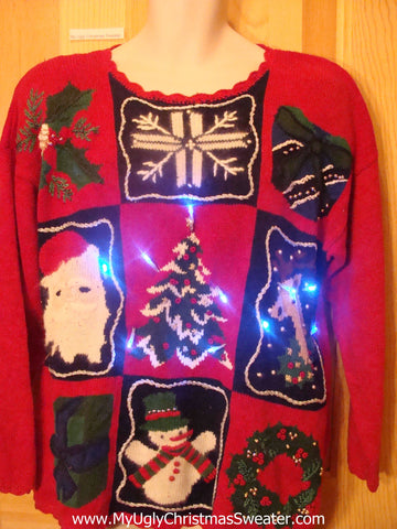 80s Reindeer Light Up Christmas Sweater