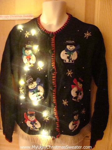 Tacky Ugly Christmas Sweater Gift Giving Snowmen with Lights and Fringe (g50)