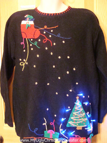 80s Light Up Christmas Sweater with Flying Stocking