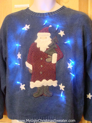 Santa Coming and Going Light Up Christmas Sweater