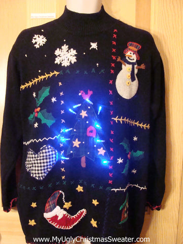 Black Plaid Themed Light Up Christmas Sweater