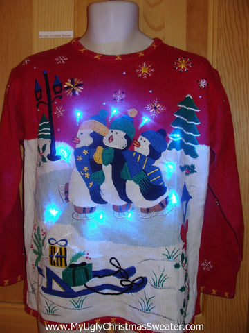 Penguins in Winter Light Up Christmas Sweater