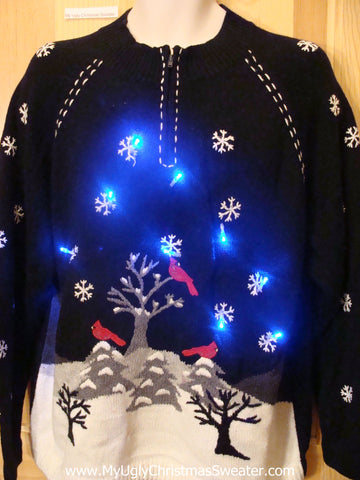 Red Cardinal Themed Light Up Christmas Sweater