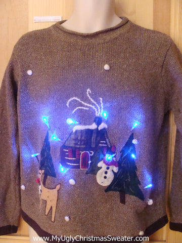 Cabin with Reindeer Light Up Christmas Sweater