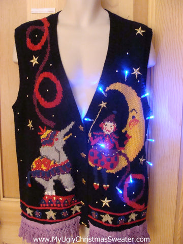 Circus Theme Light Up Christmas Sweater Vest