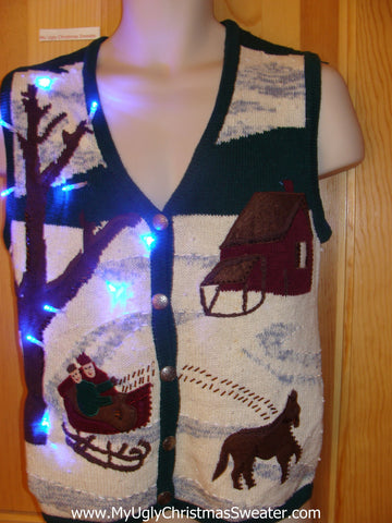 Horse and Sleigh Light Up Christmas Sweater Vest