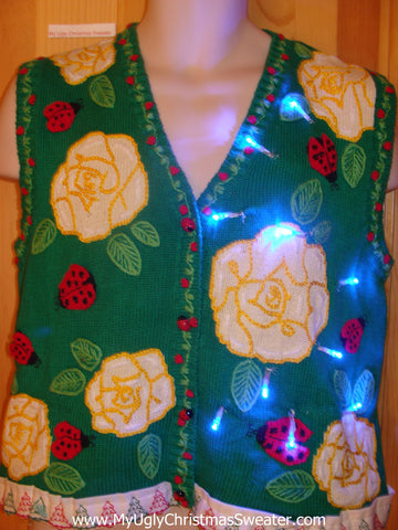 Flowers and Ladybugs Light Up Christmas Sweater Vest