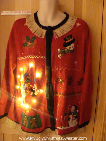 Tacky Ugly Christmas Sweater with Lights and Fringe (g52)