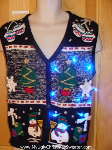Light Up Christmas Sweater Vest with Snowflakes