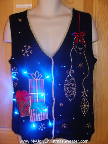Light Up Christmas Sweater Vest with Gifts