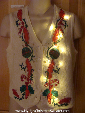 Light Up Christmas Sweater Vest with Red Ribbons