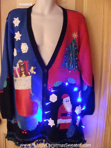 80s Light Up Christmas Sweater with Bear, Santa