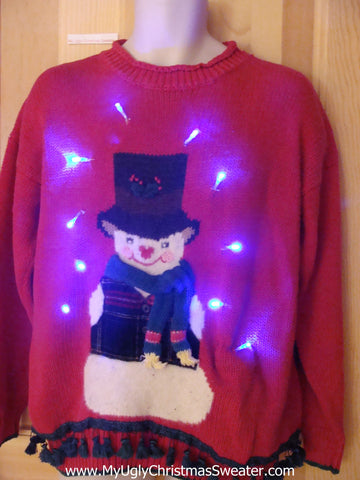 Red Light Up Christmas Sweater with Dangling Fringe