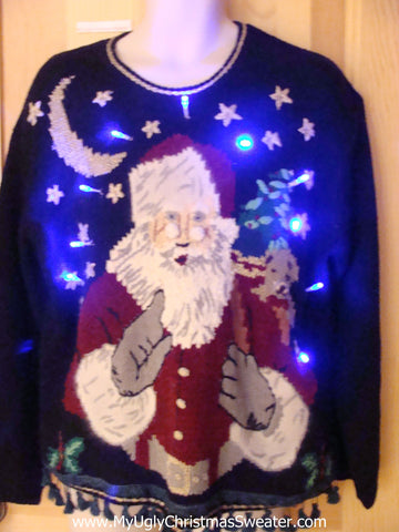 Light Up Christmas Sweater Santa Waving Finger