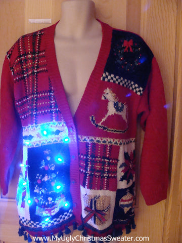 Plaid Themed Light Up Christmas Sweater with Horse