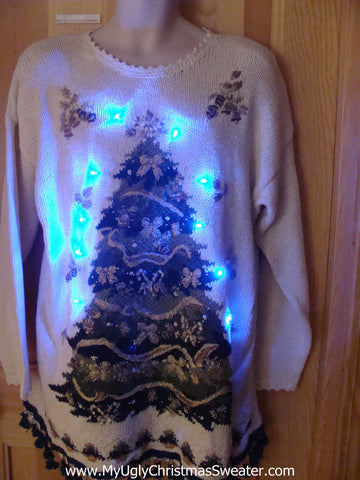 80s Style Light Up Christmas Sweater with Tree