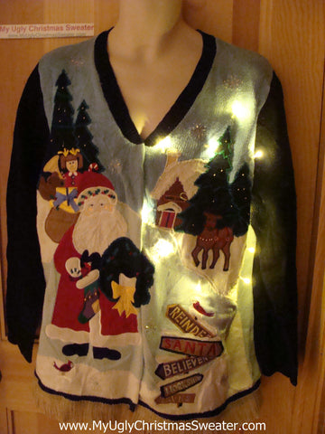 Tacky Ugly Christmas Sweater with Lights and Fringe. Two Sided. Santa and Reindeer. (g53)