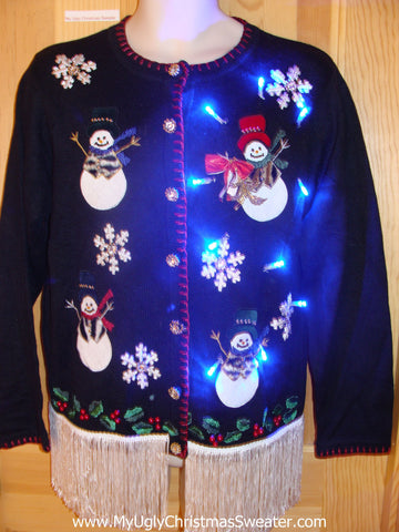 Animal Print Snowmen Light Up Christmas Sweater