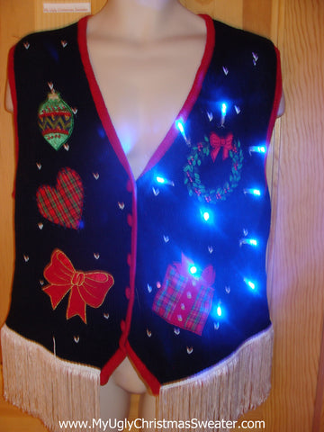 Plaid Themed Light Up Christmas Sweater Vest