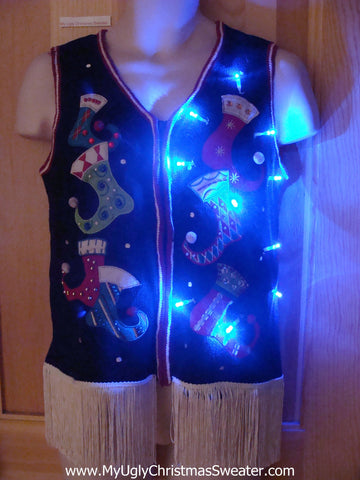 Pointy Stocking Themed Light Up Christmas Sweater Vest