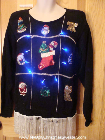 80s Light Up Christmas Sweater with Fringe and Bling