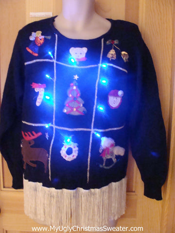 80s Light Up Christmas Sweater with Fringe