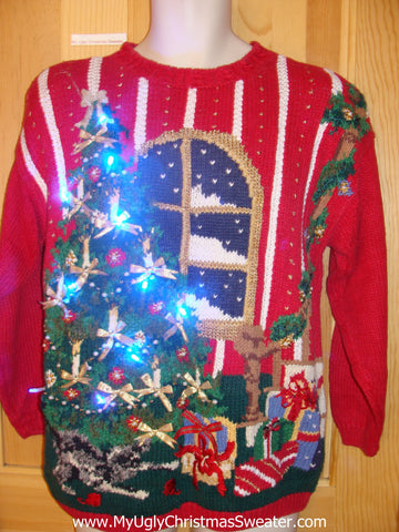 80s Light Up Christmas Sweater with Huge Tree