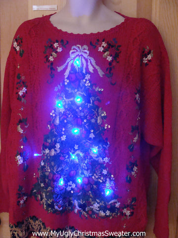 80s Red Light Up Christmas Sweater Wm Mens XXL XXXL