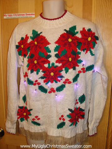 Tacky Ugly Christmas Sweater with Lights and Fringe Poinsettias (g54)
