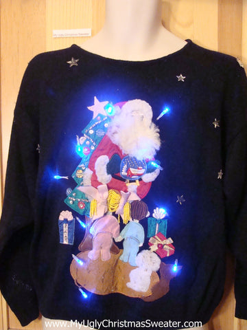 80s Light Up Christmas Sweater Santa and Children