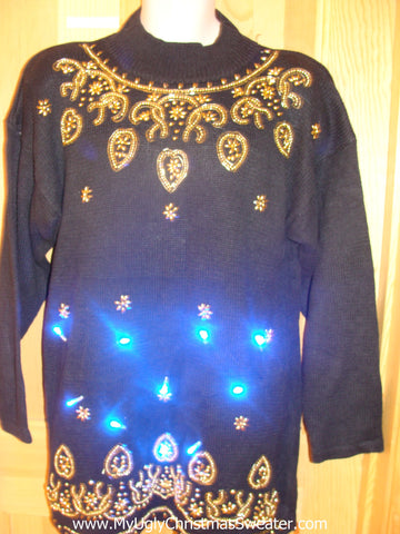 80s Gem Light Up Christmas Sweater