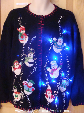 Light Up Christmas Sweater with Snowmen