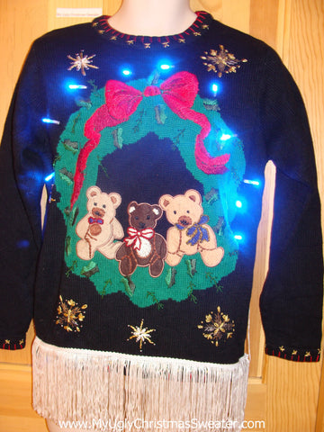 Holy Grail Light Up Christmas Sweater Bears, Fringe