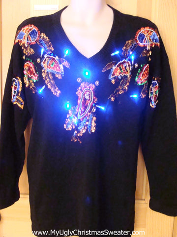 80s Glam Gem Light Up Christmas Sweater