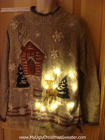 Tacky Ugly Christmas Sweater Rudolph Reindeer with Lights and Fringe (g55)