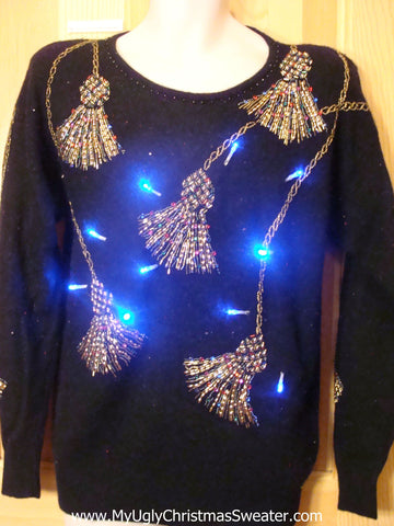 80s Glam Light Up Christmas Sweater