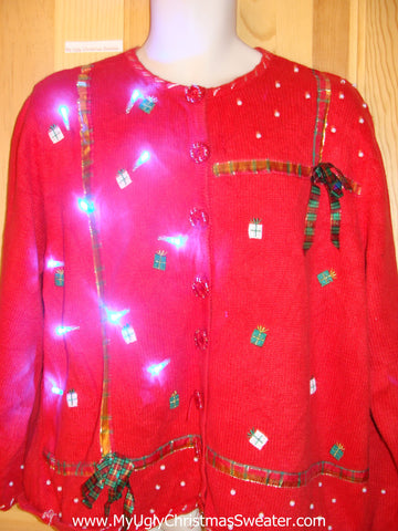 Red Light Up Christmas Sweater with Plaid Ribbon