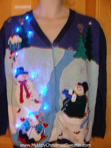 Two Sided Light Up Christmas Sweater Magic Snowman