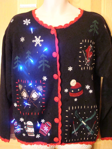 Winter Sports Light Up Christmas Sweater