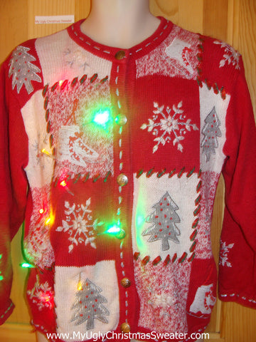 Ice Skating Themed Light Up Christmas Sweater