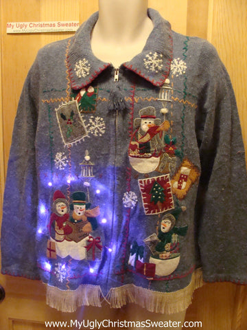 Tacky Ugly Christmas Sweater with Lights and Fringe (g56)