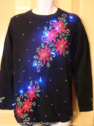 Red Poinsettias Light Up Christmas Sweater