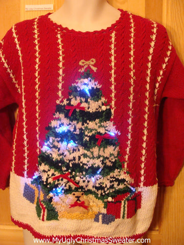 Red Light Up Christmas Sweater with Tree