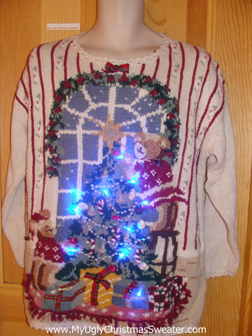 Bears Decorating Light Up Christmas Sweater
